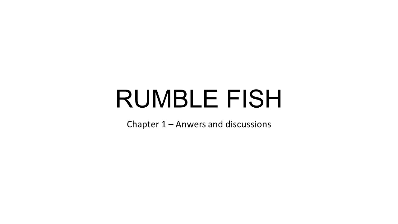 Chapter 1 – Anwers and discussions
