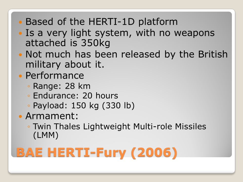 BAE HERTI-Fury (2006) Based of the HERTI-1D platform