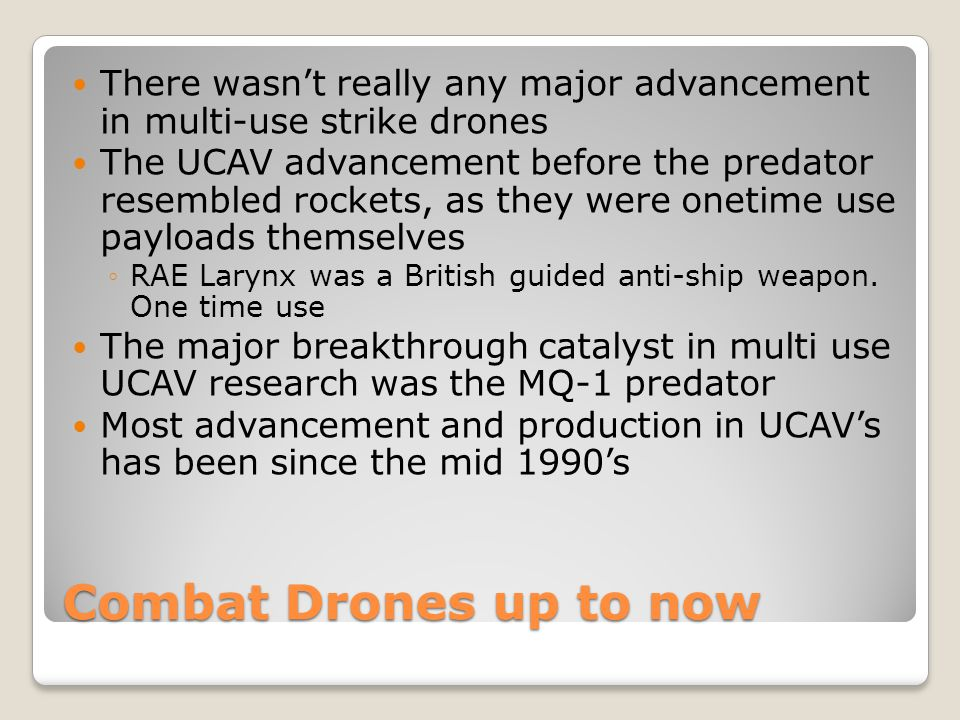 There wasn't really any major advancement in multi-use strike drones