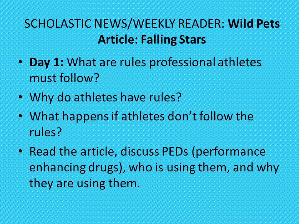SCHOLASTIC NEWS/WEEKLY READER: Wild Pets Article: Falling Stars