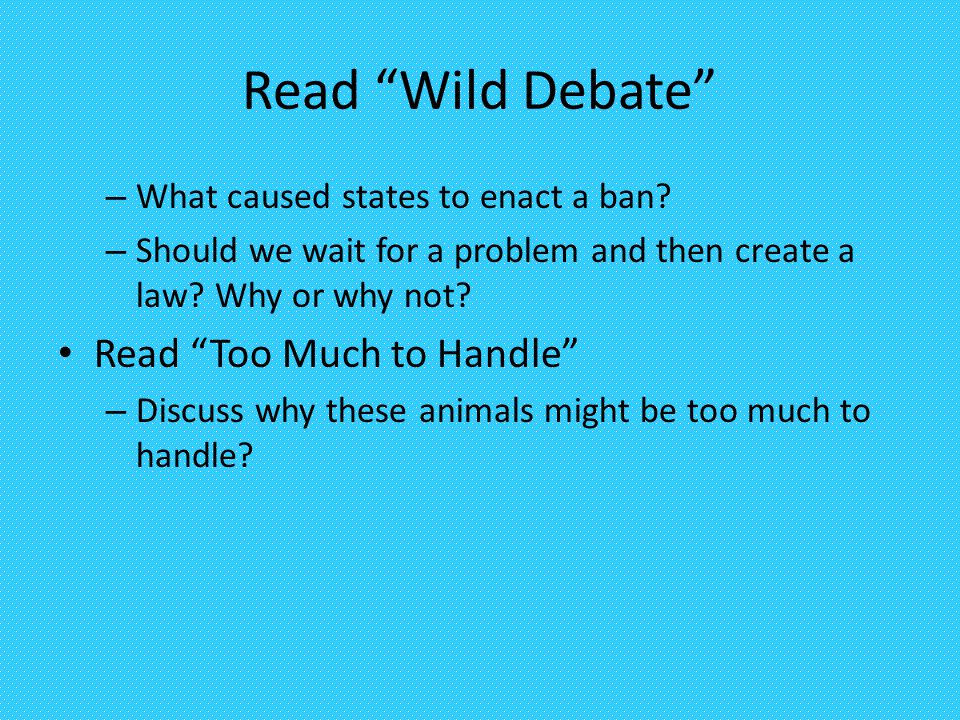 Read Wild Debate Read Too Much to Handle