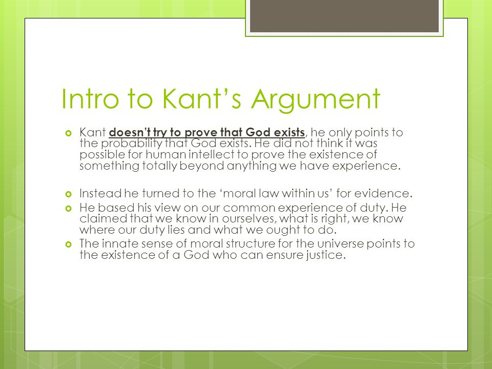 Intro to Kant's Argument