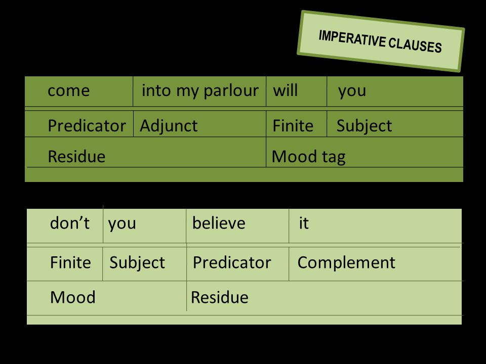 don't you believe it Finite Subject Predicator Complement Mood Residue