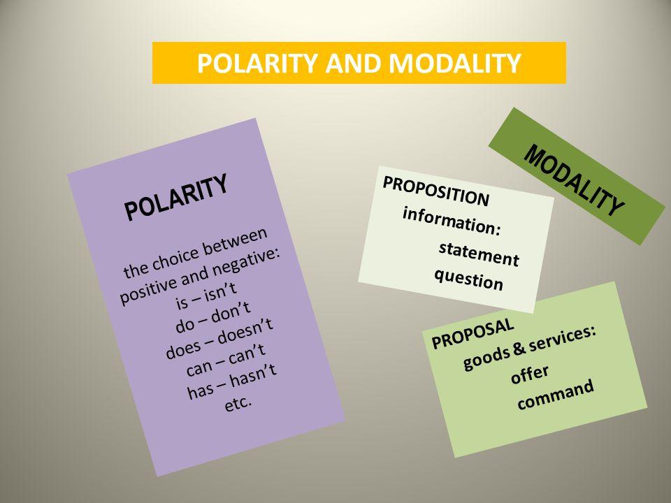 POLARITY AND MODALITY MODALITY