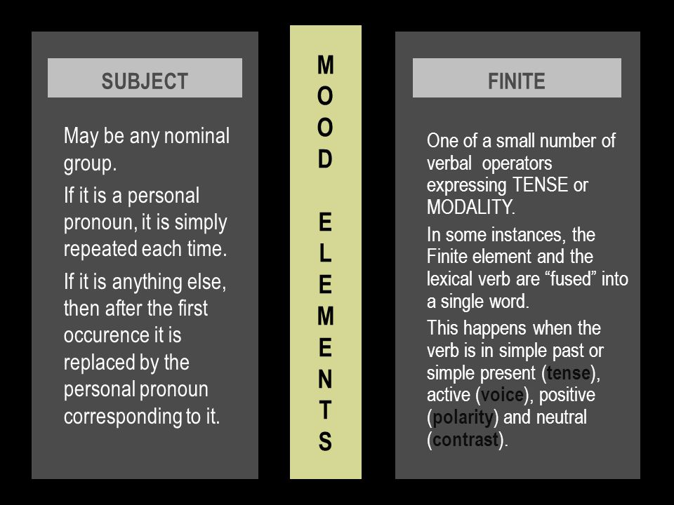 M O O D E L E M E N T S May be any nominal group. If it is a personal pronoun, it is simply repeated each time.