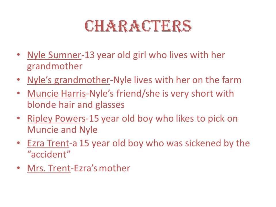 Characters Nyle Sumner-13 year old girl who lives with her grandmother