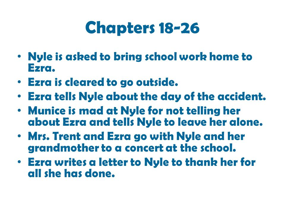 Chapters 18-26 Nyle is asked to bring school work home to Ezra.