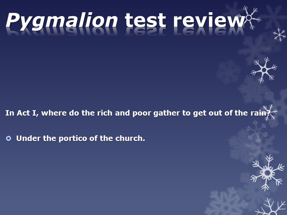 Pygmalion test review In Act I, where do the rich and poor gather to get out of the rain.