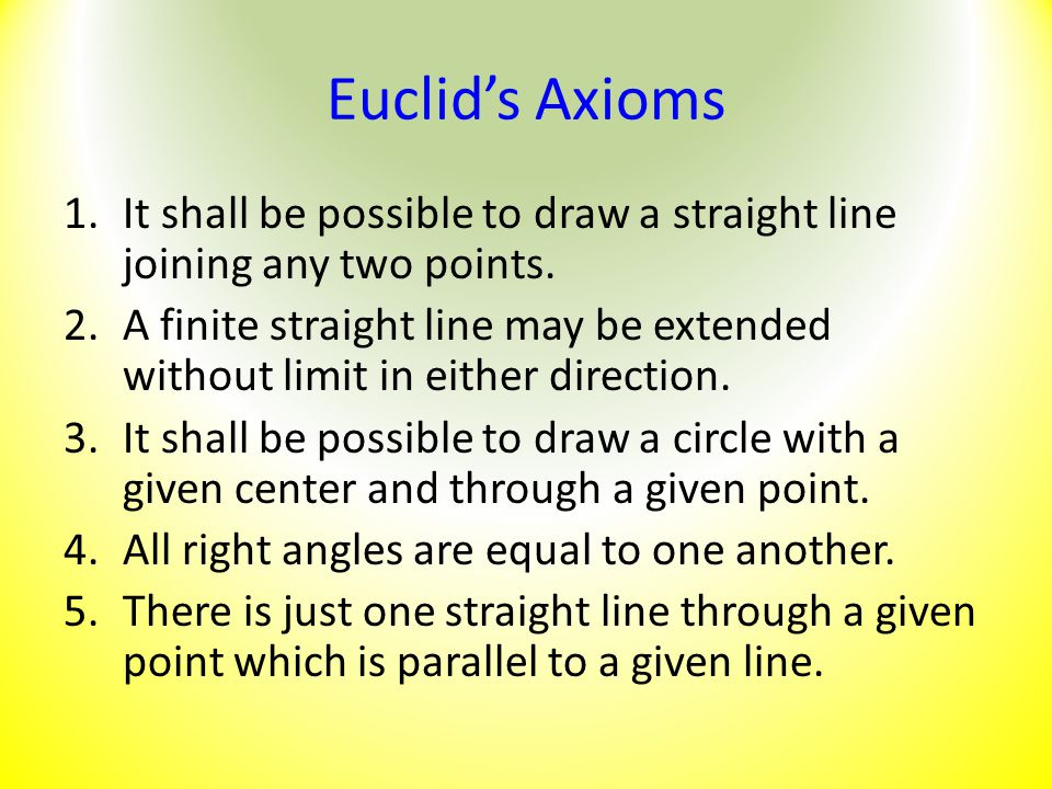 Euclid's Axioms It shall be possible to draw a straight line joining any two points.