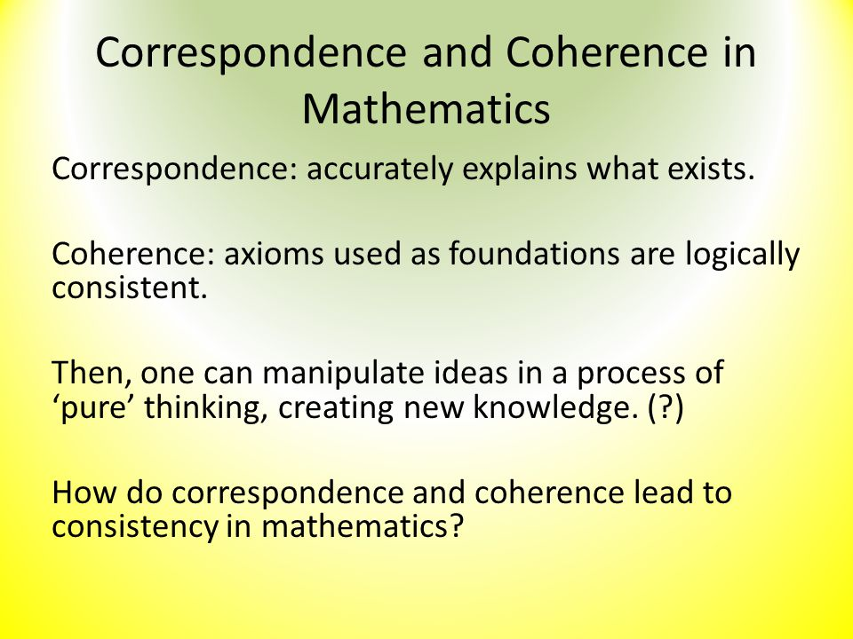 Correspondence and Coherence in Mathematics