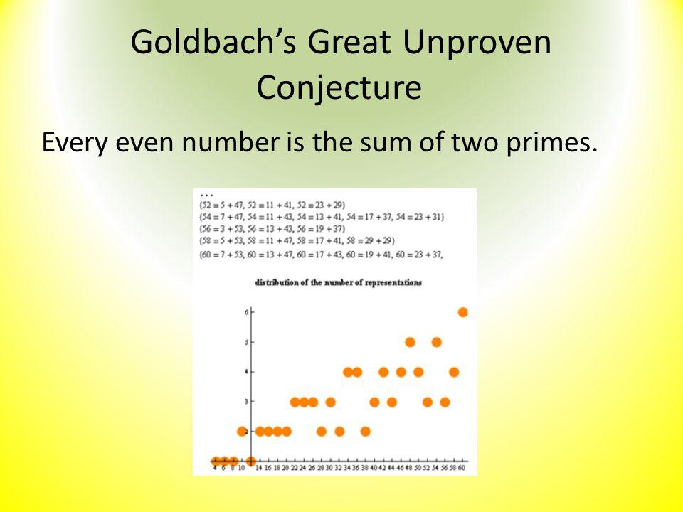 Goldbach's Great Unproven Conjecture