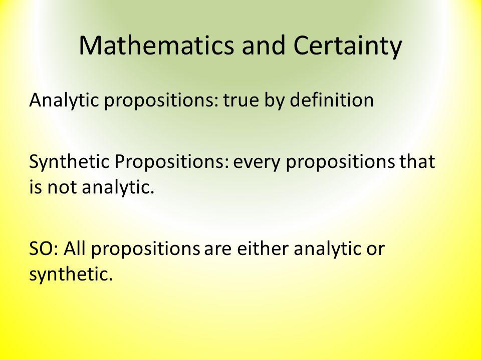 Mathematics and Certainty