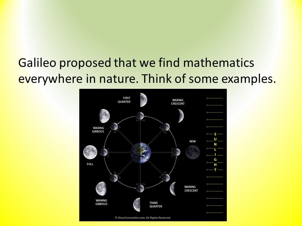 Galileo proposed that we find mathematics everywhere in nature