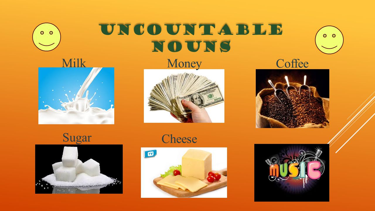 UNCOUNTABLE NOUNS Milk Money Coffee Sugar Cheese