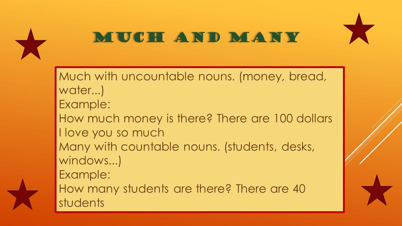 MUCH AND MANY Much with uncountable nouns. (money, bread, water...)