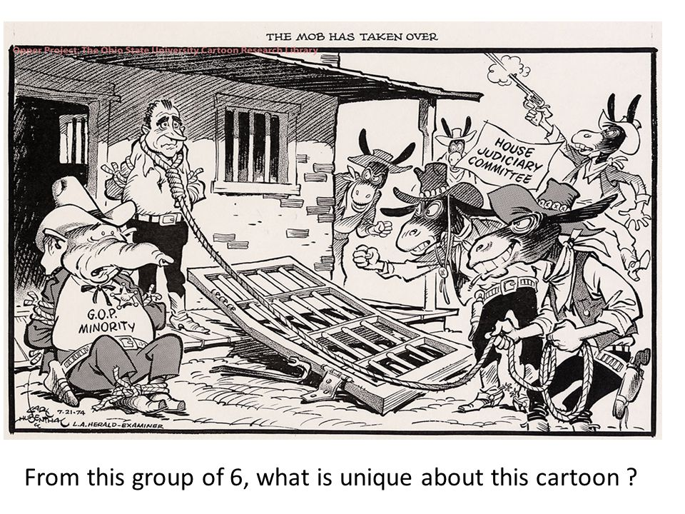 From this group of 6, what is unique about this cartoon