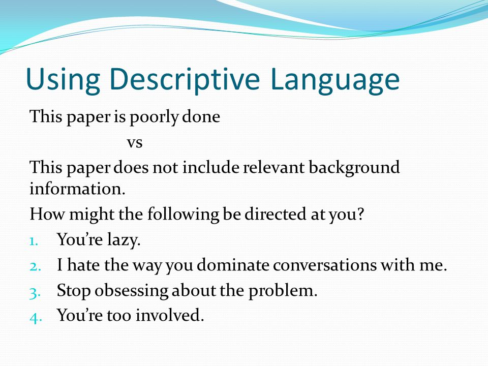 Using Descriptive Language