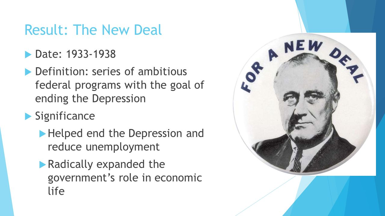 Result: The New Deal Date: 1933-1938
