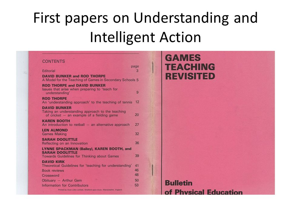 First papers on Understanding and Intelligent Action