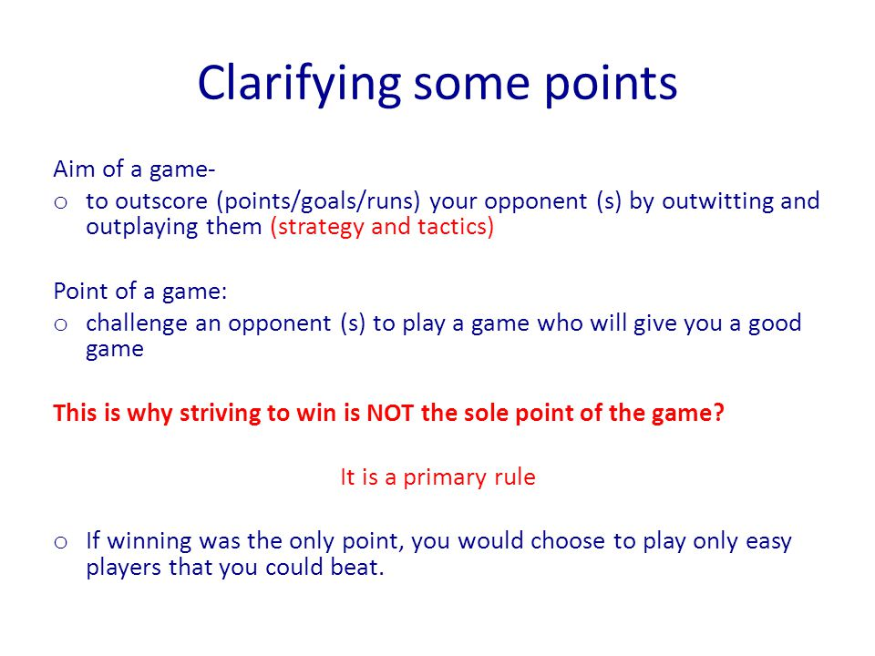 Clarifying some points