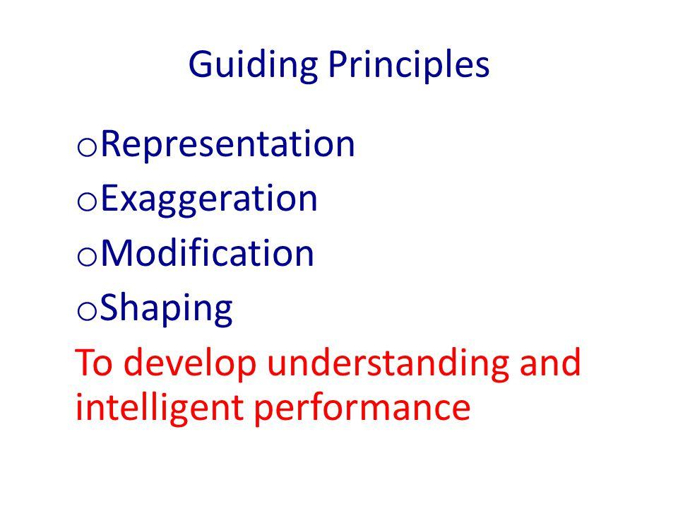 Guiding Principles Representation. Exaggeration.