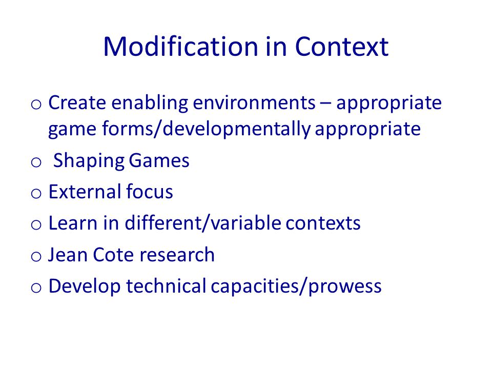 Modification in Context