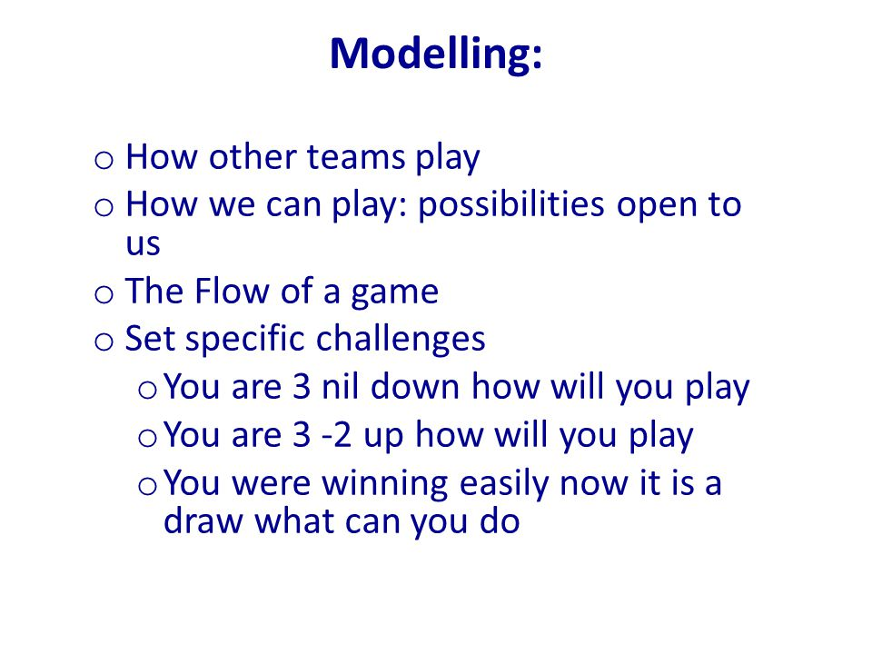 Modelling: How other teams play