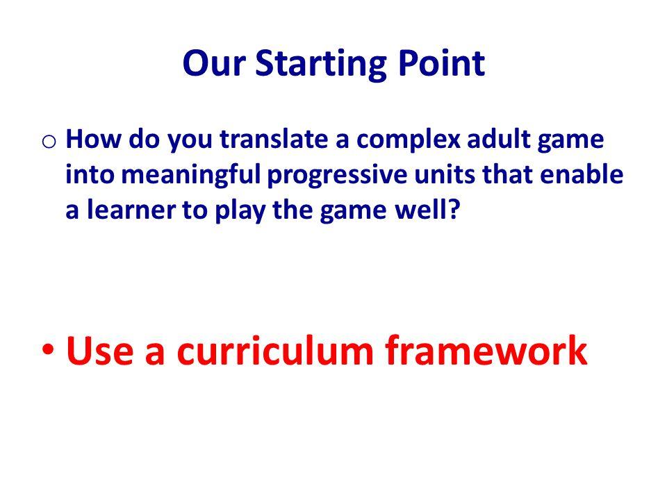 Use a curriculum framework