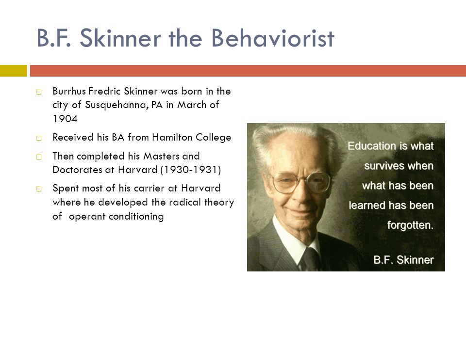 an overview of bf skinner and his behaviorism Beyond freedom and dignity is a 1971 book by american psychologist b f skinner the technology of human behavior, his conception of determinism, and what skinner calls cultural engineering chomsky's 1971 essay the case against bf skinner responded to beyond freedom and dignity.