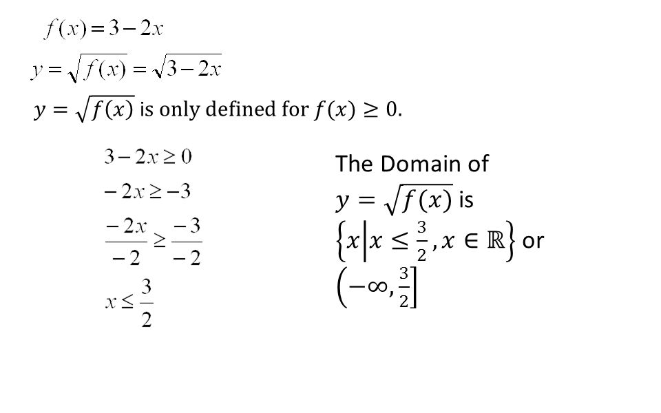 The Domain of 𝑦= 𝑓(𝑥) is 𝑥 𝑥≤ 3 2 ,𝑥∈ℝ or −∞, 3 2
