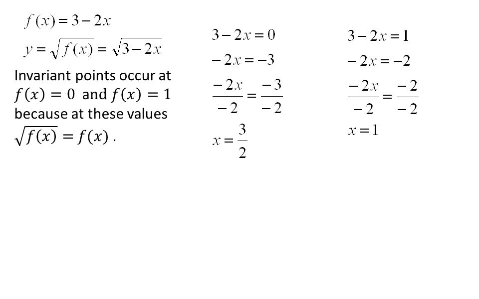 Invariant points occur at 𝑓 𝑥 =0 and 𝑓 𝑥 =1 because at these values 𝑓 𝑥 = 𝑓(𝑥) .