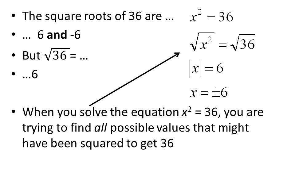 The square roots of 36 are …
