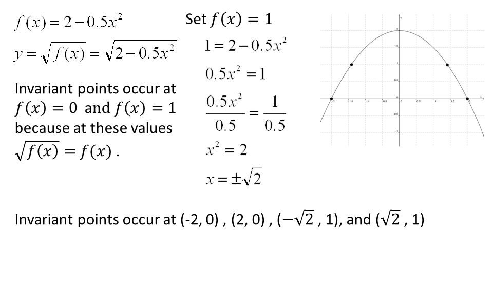 Set 𝑓 𝑥 =1 Invariant points occur at 𝑓 𝑥 =0 and 𝑓 𝑥 =1 because at these values 𝑓 𝑥 = 𝑓(𝑥) .