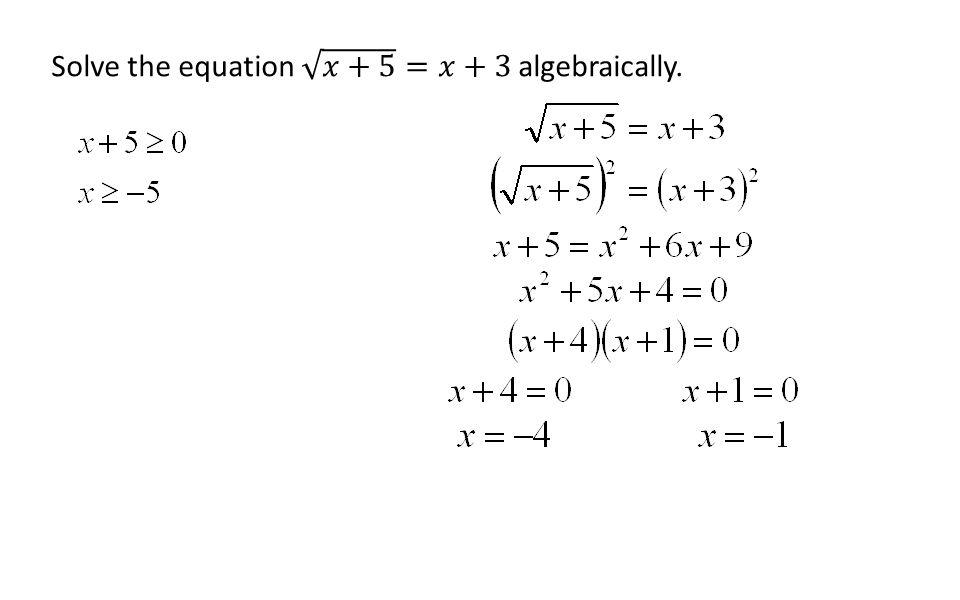 Solve the equation 𝑥+5 =𝑥+3 algebraically.