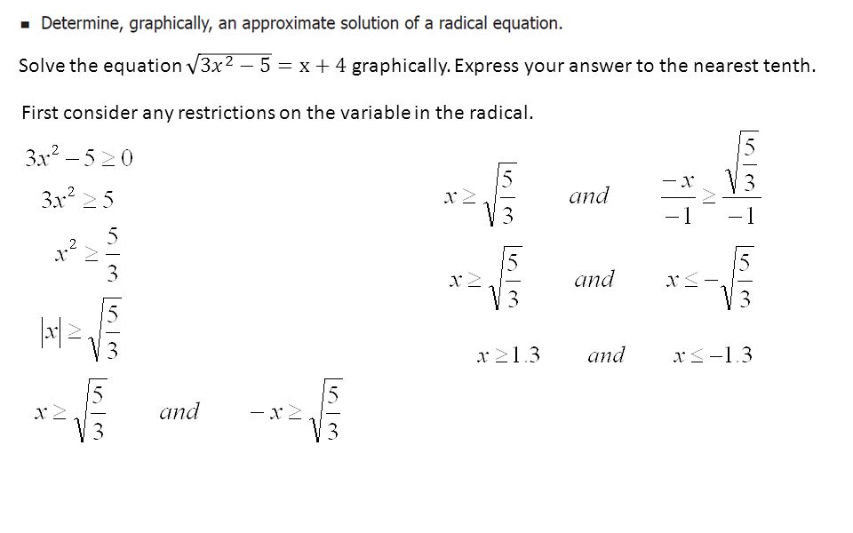 Chapter 2 radical functions ppt download solve the equation 3 2 5 x4 graphically ccuart Gallery