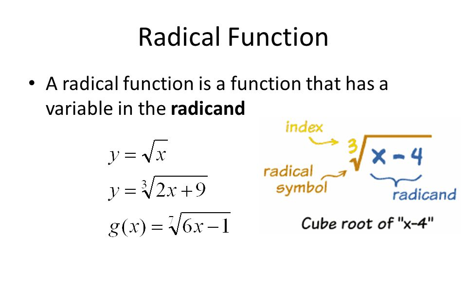Chapter 2 radical functions ppt download 6 radical function a radical function is a function that has a variable in the radicand ccuart Gallery