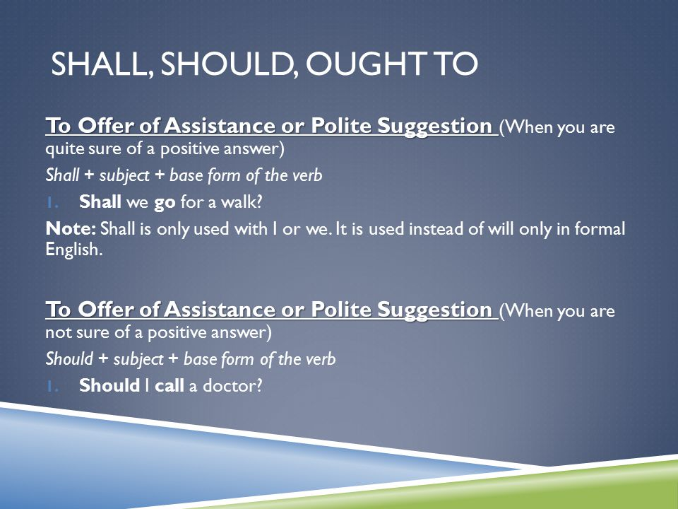 Shall, Should, Ought to To Offer of Assistance or Polite Suggestion (When you are quite sure of a positive answer)