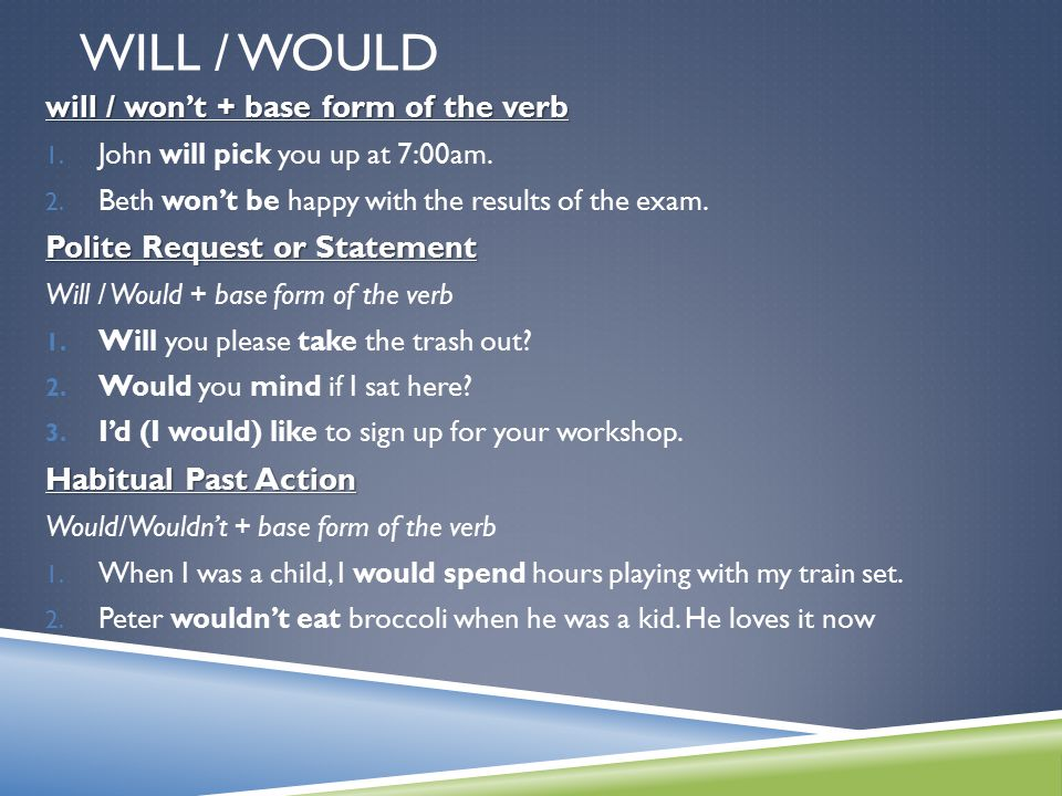 Will / Would will / won't + base form of the verb