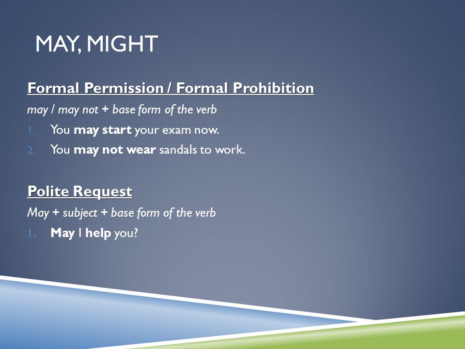 May, Might Formal Permission / Formal Prohibition Polite Request
