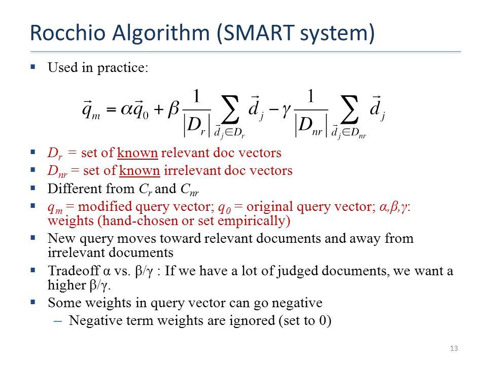 Rocchio Algorithm (SMART system)