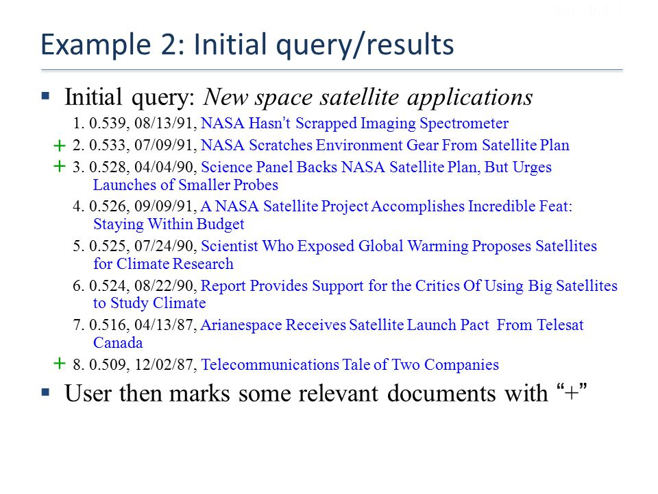 Example 2: Initial query/results