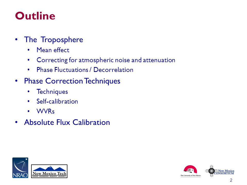 Outline The Troposphere Phase Correction Techniques