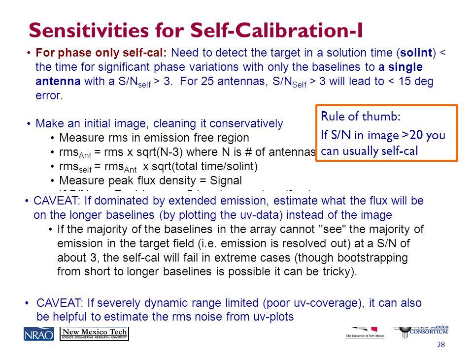 Sensitivities for Self-Calibration-I