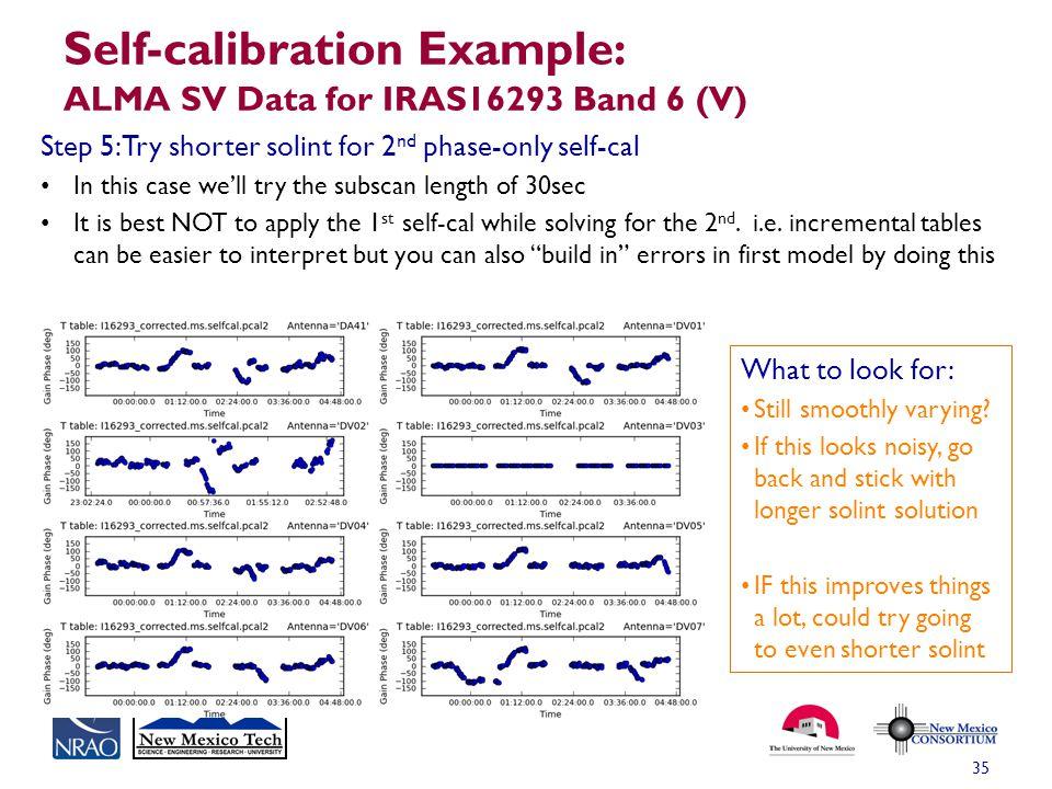 Self-calibration Example: ALMA SV Data for IRAS16293 Band 6 (V)