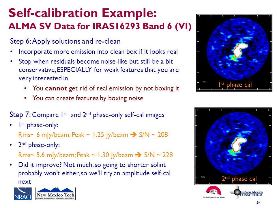 Self-calibration Example: ALMA SV Data for IRAS16293 Band 6 (VI)