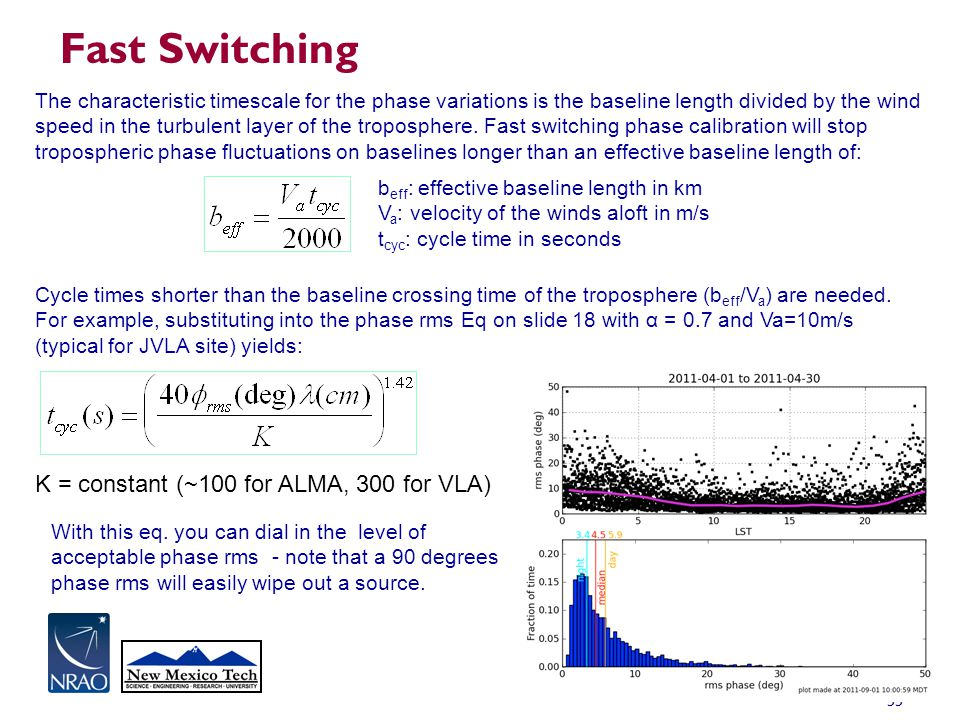 Fast Switching K = constant (~100 for ALMA, 300 for VLA)