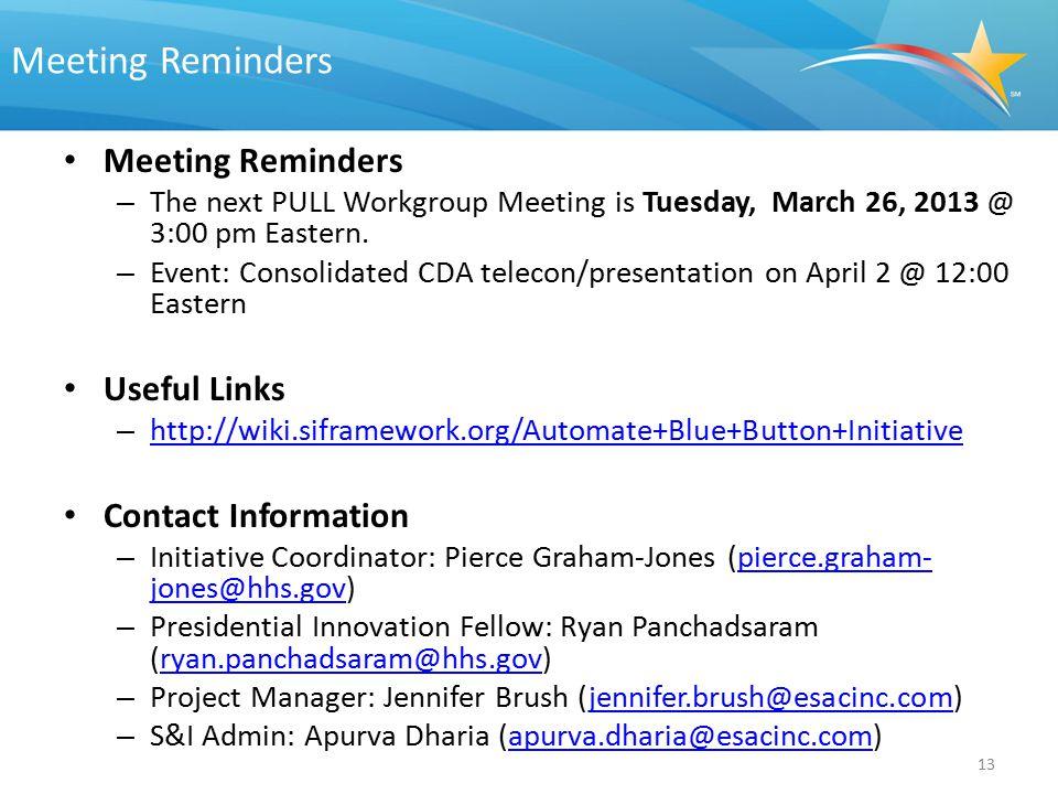 Meeting Reminders Meeting Reminders Useful Links