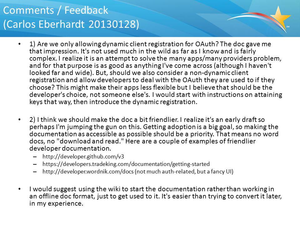 Comments / Feedback (Carlos Eberhardt 20130128)