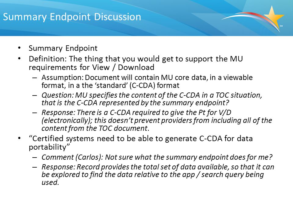 Summary Endpoint Discussion