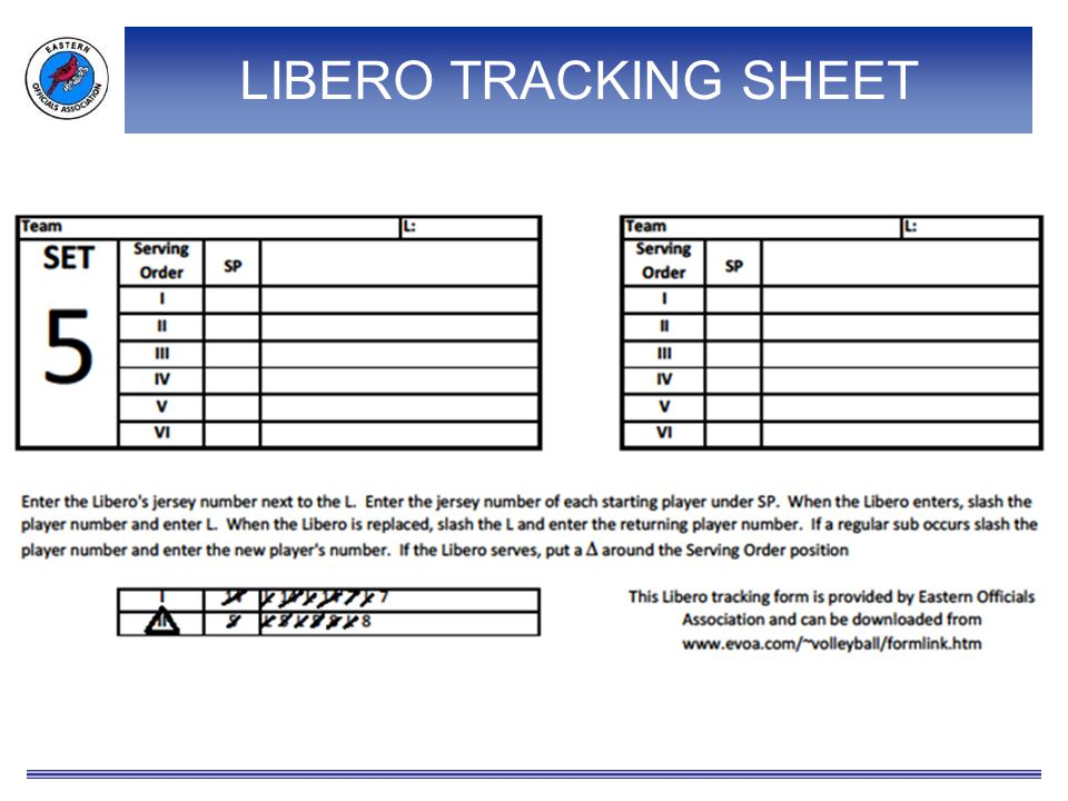 LIBERO TRACKING SHEET A close-up of one set and the instructions at the bottom of the page